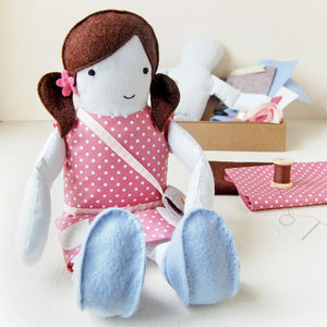 CK-D-01 / Make Your Own Doll Sewing Kit / Brown & Pink