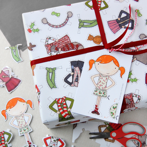 WP-FL-05 / Christmas Paper Doll Wrapping Paper
