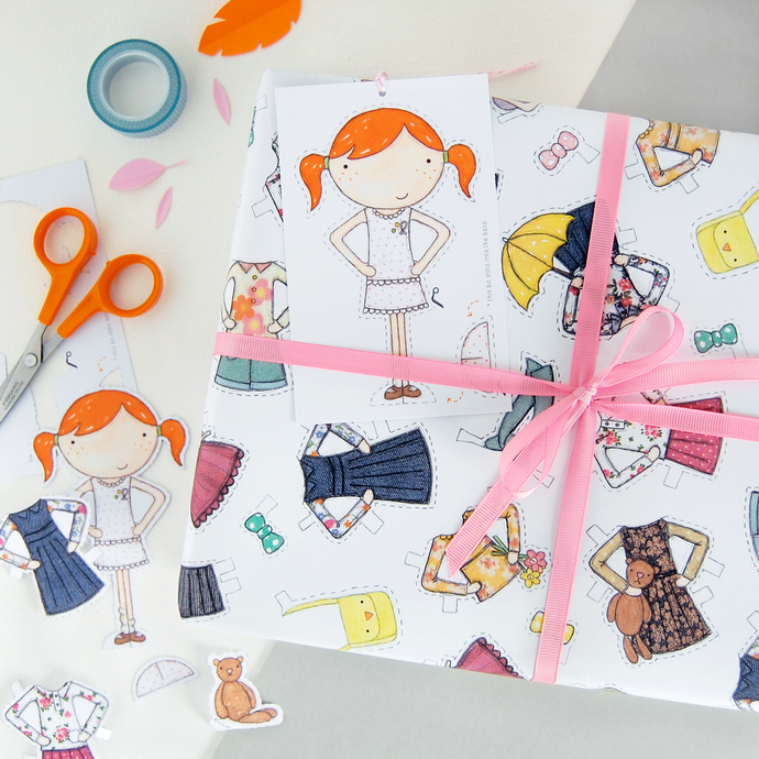WP-FL-18 / Clara Paper Doll Wrapping Paper