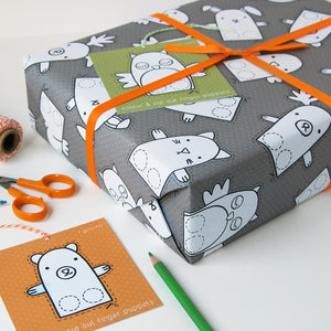 WP-FL-09 / Finger Puppet Interactive Wrapping Paper