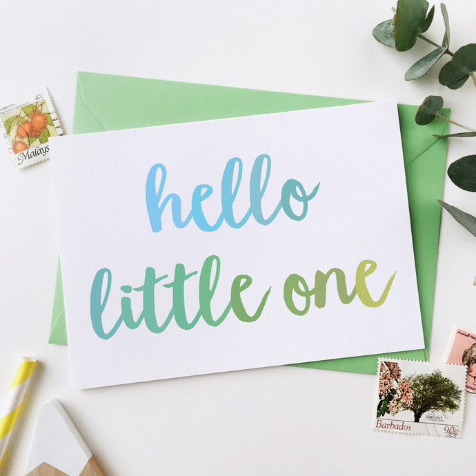 CA6-NB-04 / Hello Little One Baby Card / Blues & Greens