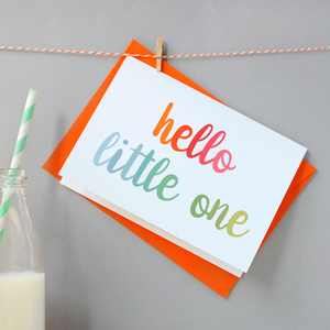 CA6-NB-06 / Hello Little One Baby Card / Rainbow Colours