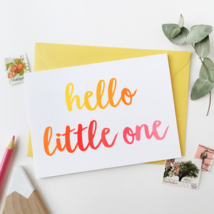 CA6-NB-05 / Hello Little One Baby Card / Pinks & Yellows