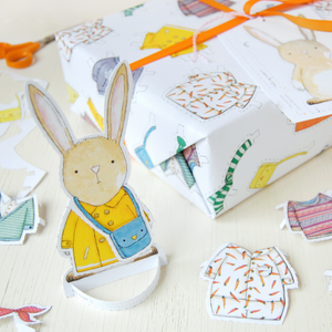 WP-FL-08 / Dress Up A Rabbit Interactive Wrapping Paper