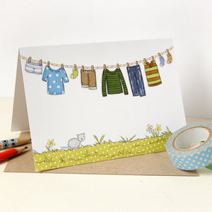 CA6-G-01 / Children's Washing Line Card / Blues & Greens