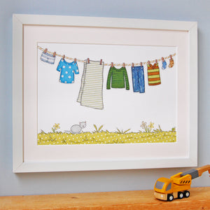 PA4-UN-05 / Children's Washing Line Print / Blues & Greens