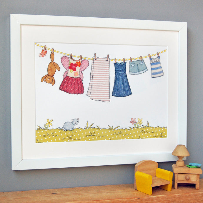 PA4-UN-04 / Children's Washing Line Print / Pinks & Yellows