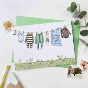 CA6-NB-01 / New Baby Card / Blues & Greens