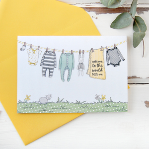 CA6-NB-03 / New Baby Card / Yellows & Greys