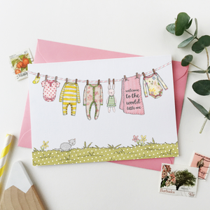 CA6-NB-02 / New Baby Card / Pinks & Yellows