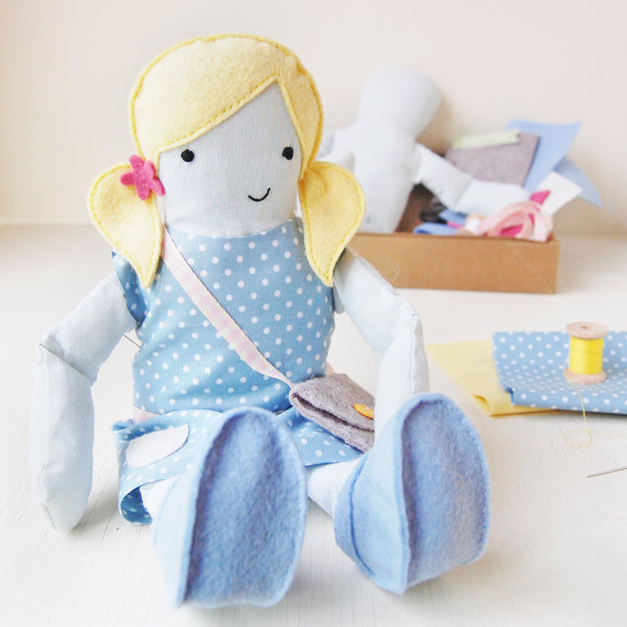 CK-D-02 / Make Your Own Doll Sewing Kit / Yellow & Blue