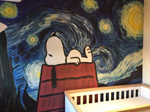 Awaiting the new baby - Snoopy, with a touch of Van Gogh!