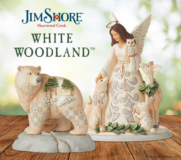 White Woodland bear, angel with animals figurines