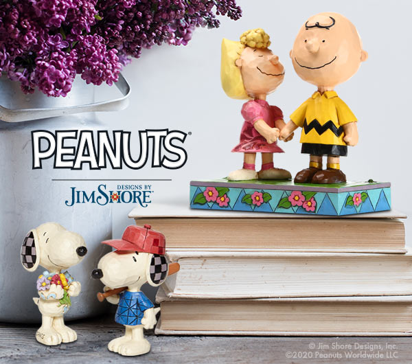 Peanuts by Jim Shore Snoopy minis and Sally with Charlie Brown figurines.