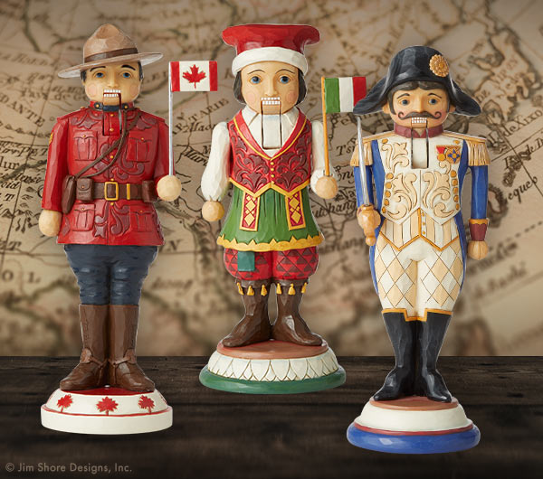 Jim Shore Nutcrackers Around the World figurines including Canada, Italy, and France.