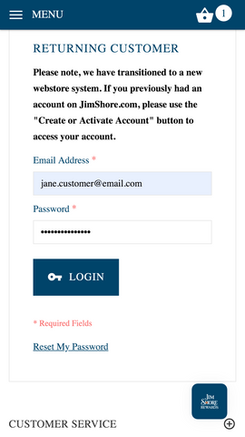 login to jimshore.com