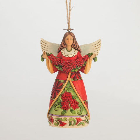 Poinsettia Angel Ornament