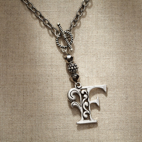 JS Monogram Letter F Necklace