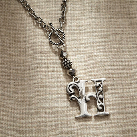 JS Monogram Letter H Necklace