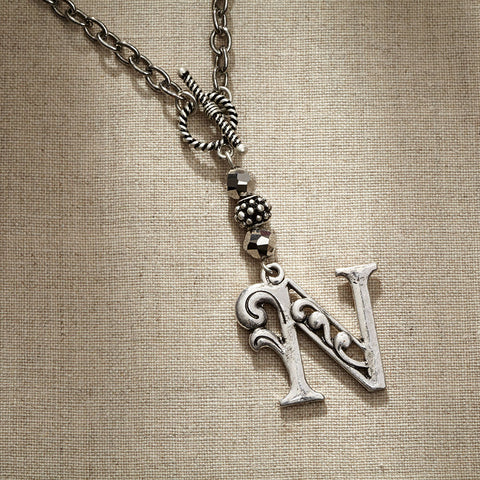 JS Monogram Letter N Necklace