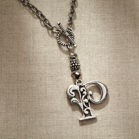 JS Monogram Letter P Necklace