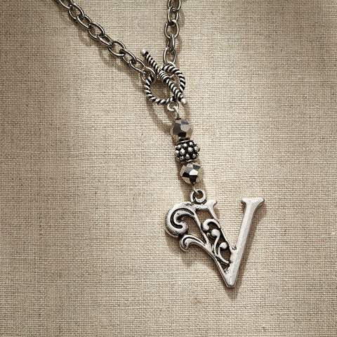 JS Monogram Letter V Necklace