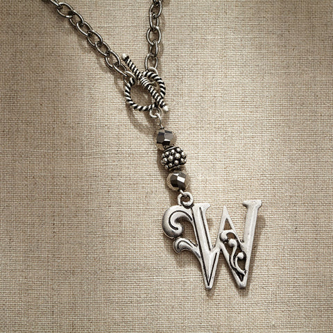 JS Monogram Letter W Necklace
