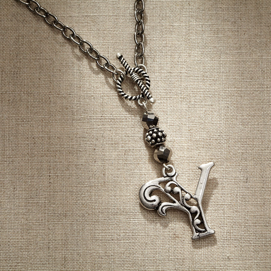 JS Monogram Letter Y Necklace