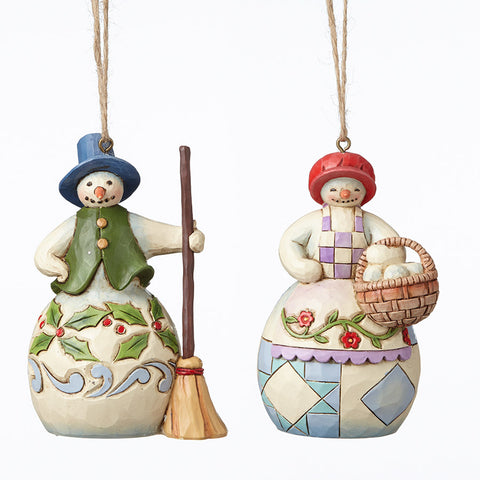 Set Mr-Mrs Snowman Ornaments