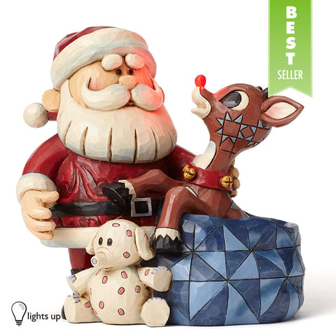 Santa with Rudolph in Toy Bag