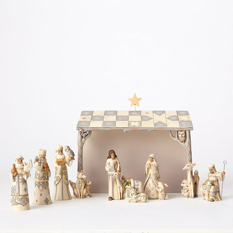 White Woodland 8 Pc Nativity