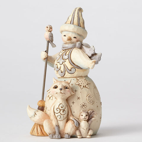 White Woodland Snowman w/Fox