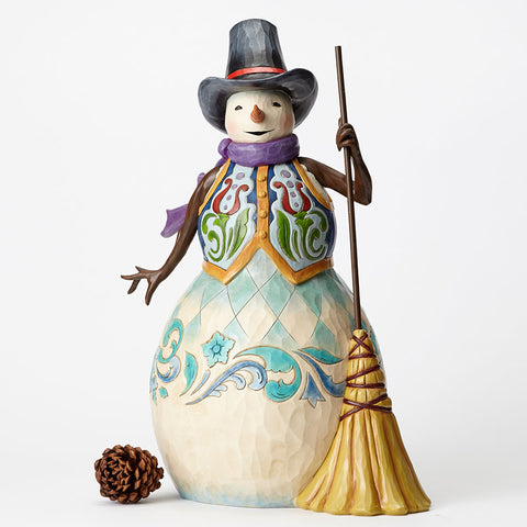 Snowman with Broom Statue