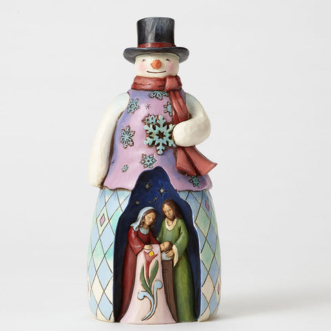 Snowman with Holy Family Scene
