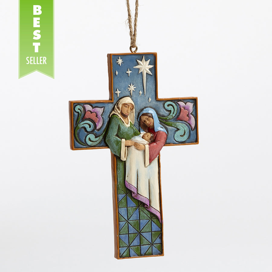 Cross-shaped Holy Family Orn