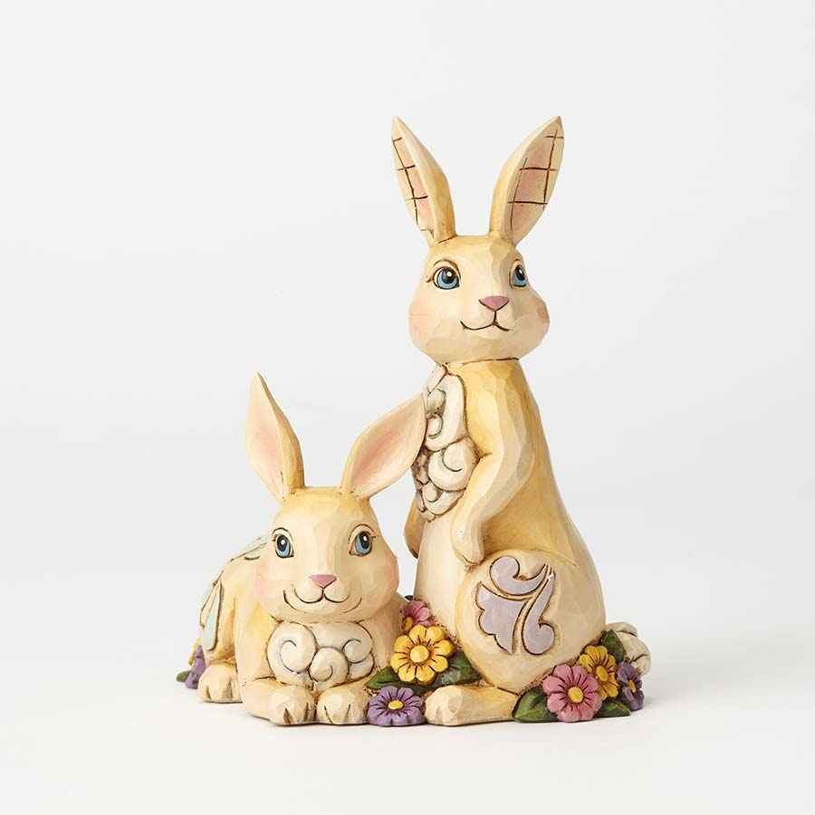 Two Bunnies with Flowers