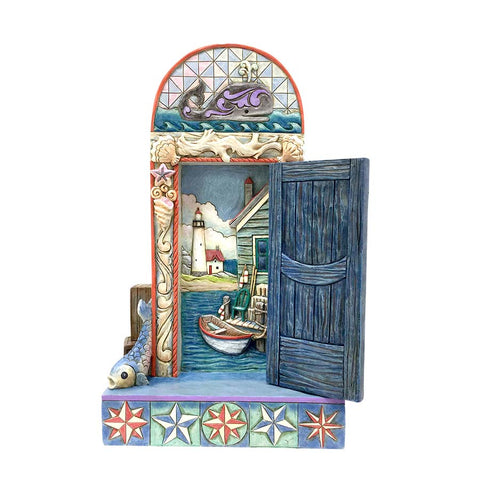 Coastal Door with Boat Scene