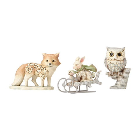 WhiteWood Owl, Squirrel, Bunny