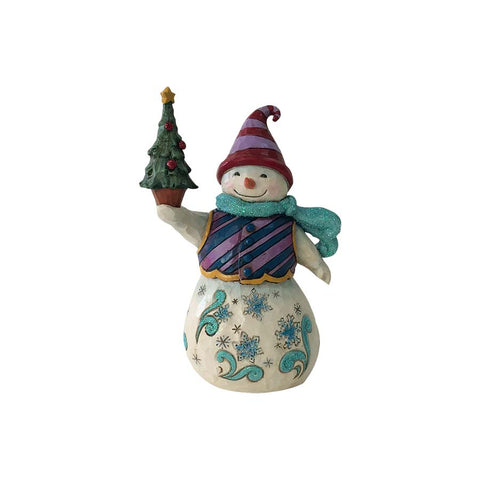 Woodland Snowman Holding Tree