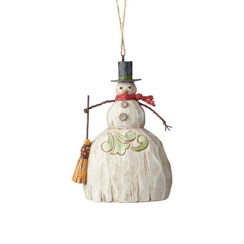 Folklore Snowman w/Broom Orn