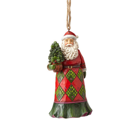 Evergreen Santa Ornament