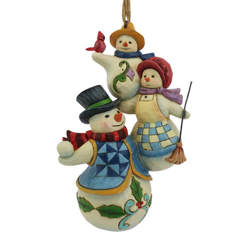 stacked snowman family orn