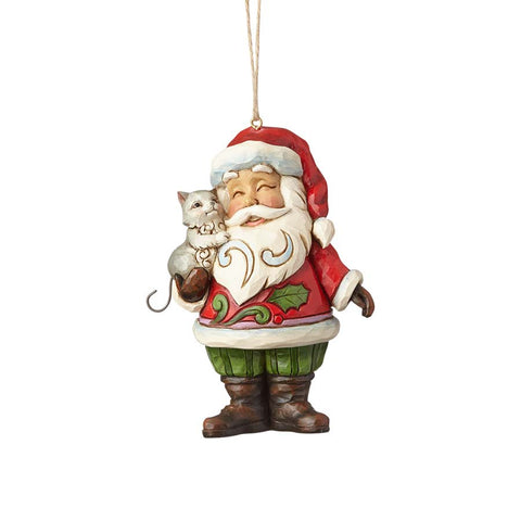 Santa with Cat Ornament