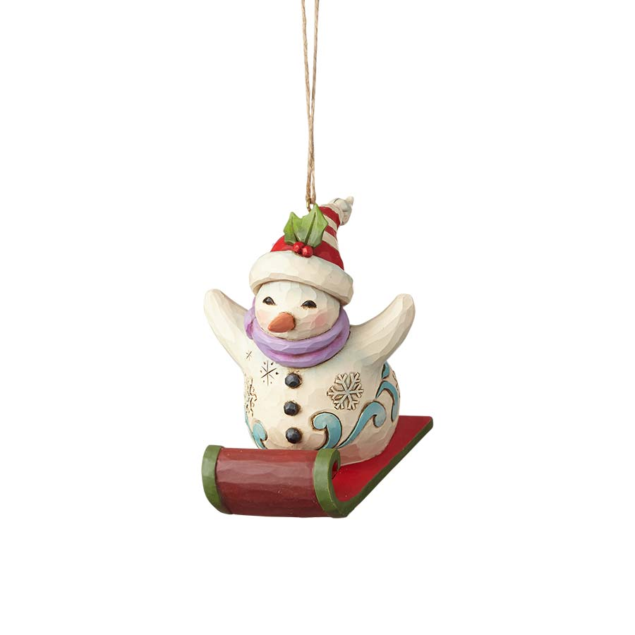 Snowman Sledding Ornament