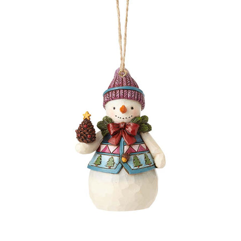 Mini Snowman with Pinecone Orn