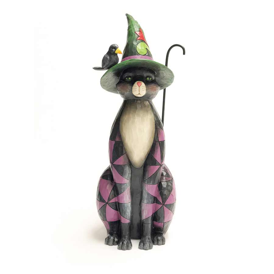 Black Cat Witch Statue