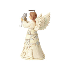 White Farmhouse Angel with Cat