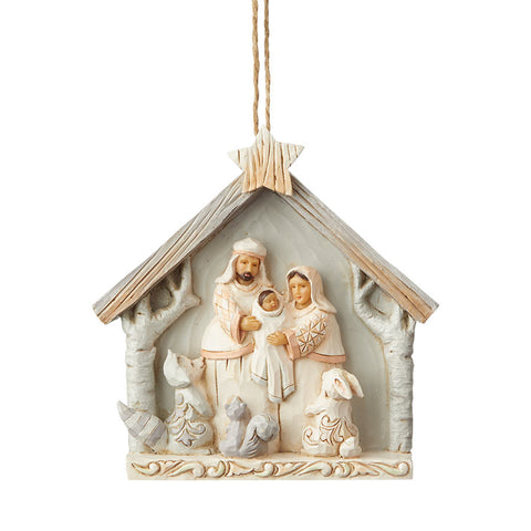 White Woodland Nativity Orn
