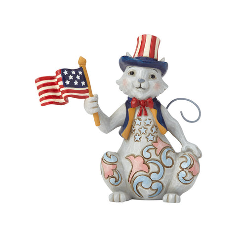 Pint Size Patriotic Cat w/Flag