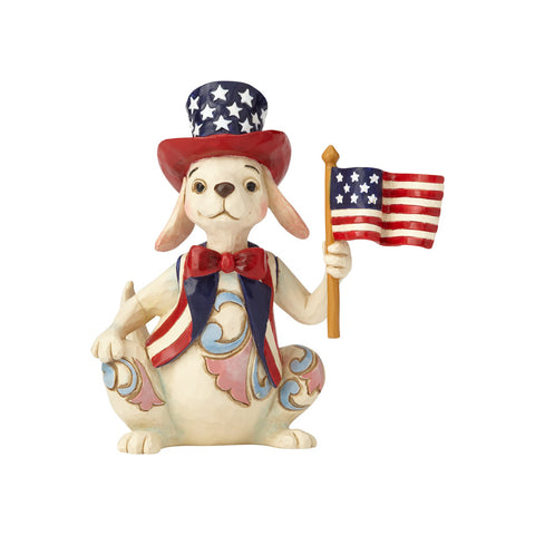 Pint Size Patriotic Dog w/Flag